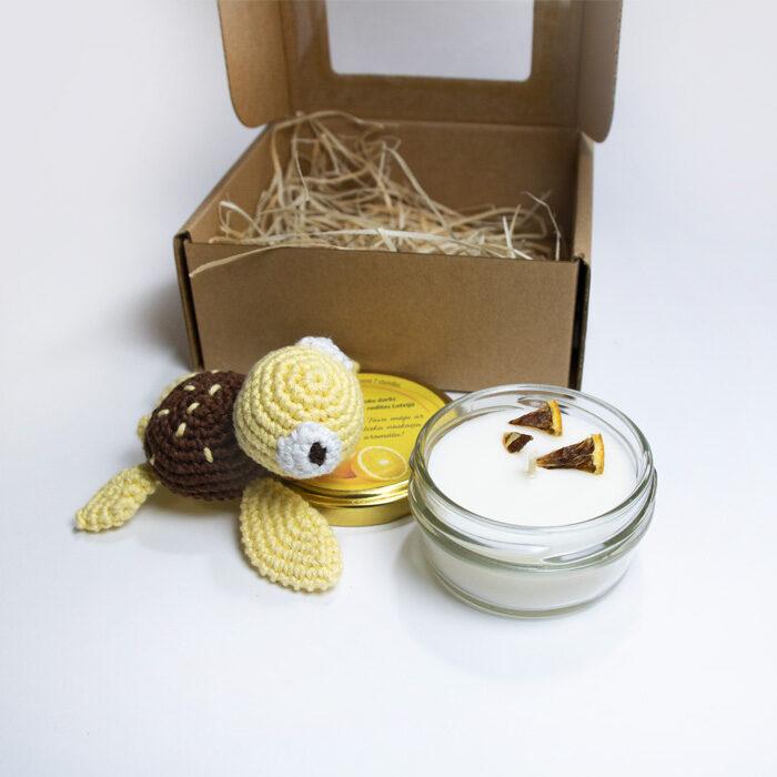 Dāvanu komplekts Laimes bruņurupucītis (dzeltens)