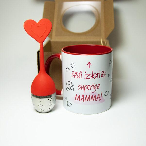 Dāvanu komplekts Superīgai mammai ar tējas sietiņu